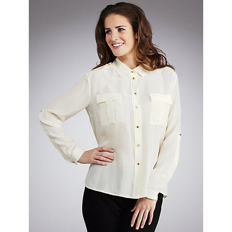 Buy Tara Jarmon Button Up Blouse, Cream Online at johnlewis.com