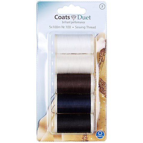 Buy Coats 100m Duet Polyester Sewing Thread, 10001, Pack of 5 Online at johnlewis.com
