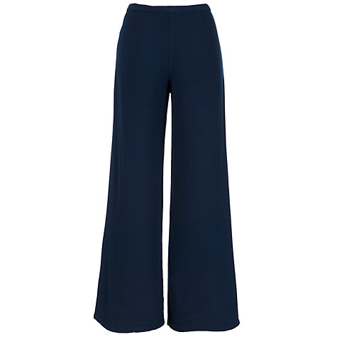 Buy Ghost Ellen Crepe Wide Leg Trousers, Navy Online at johnlewis.com