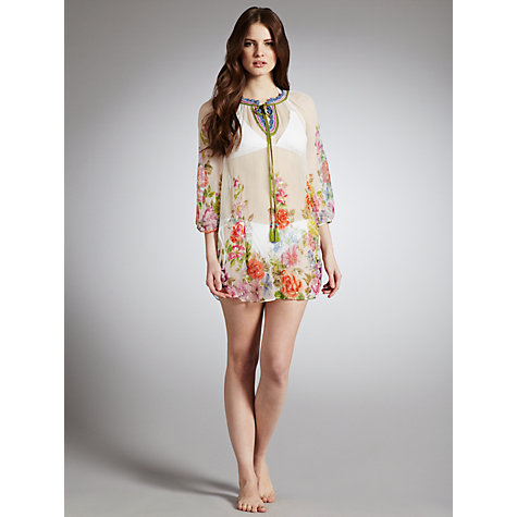 Buy Derhy Glacon Rose Print Kaftan, Cream Online at johnlewis.com