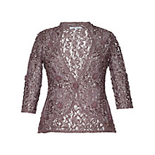 Buy Chesca Lace Cornelli Embroidered Trim Jacket, Mocha Online at johnlewis.com