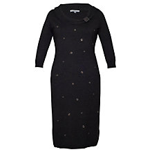 Buy Chesca Eyelet Trim Knitted Dress, Charcoal Online at johnlewis.com