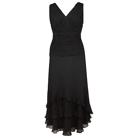 Buy Chesca Ruched Crinkle Flare Dress, Black Online at johnlewis.com
