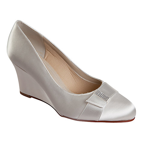 Buy Rainbow Club Jess Satin Wedge Bow Diamante Detail Court Shoes, Ivory Online at johnlewis.com