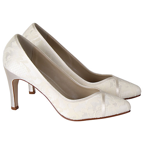 Buy Rainbow Club Melanie Satin Lace Court Shoes, Ivory Online at johnlewis.com