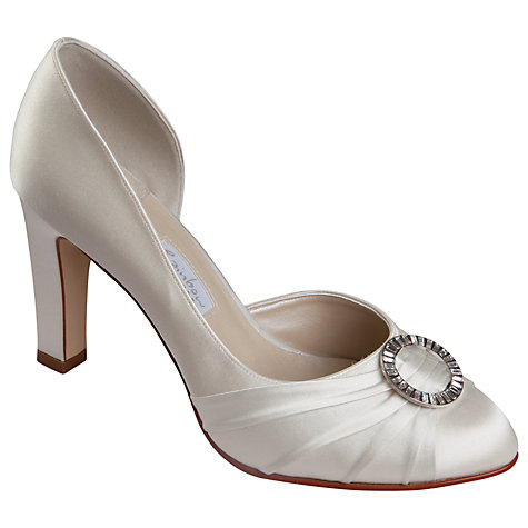 Buy Rainbow Club Sala Satin D'Orsay Diamanté Trim Court Shoes, Ivory Online at johnlewis.com