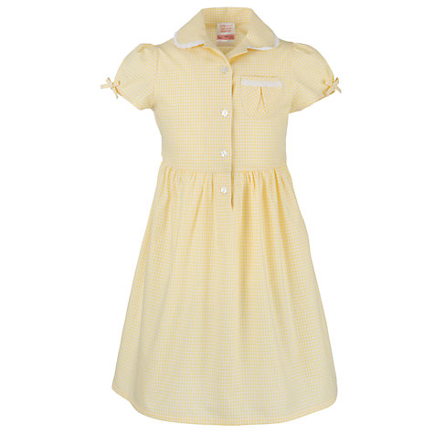 Buy John Lewis Check Print Cotton Summer Dress, Yellow Online at johnlewis.com