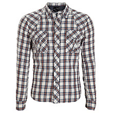 Buy Denham Grain-CLT Check Long Sleeve Shirt, Blue/Red Online at johnlewis.com