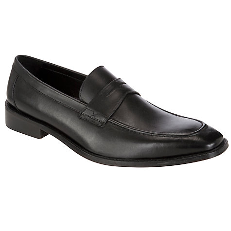 Buy John Lewis Burnham Calf Leather Loafers, Black Online at johnlewis.com