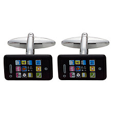 Buy John Lewis Novelty Smartphone Cufflinks, Black Online at johnlewis.com