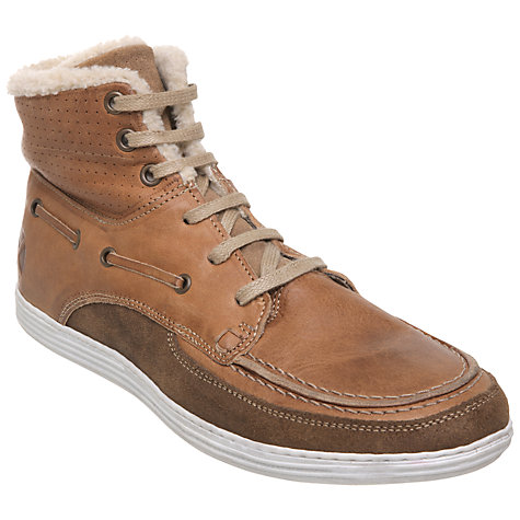 Buy Dune Shoreline DM Leather Faux Fur Hi-Top Trainers, Tan Online at johnlewis.com