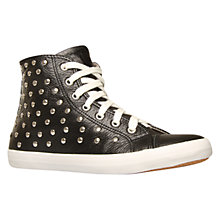 Buy KG by Kurt Geiger Luccio Studded Leather High Top Trainers, Black Online at johnlewis.com