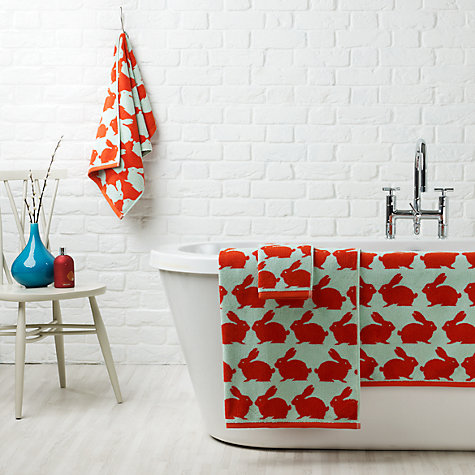 Buy Anorak Kissing Rabbits Towels, Orange Online at johnlewis.com