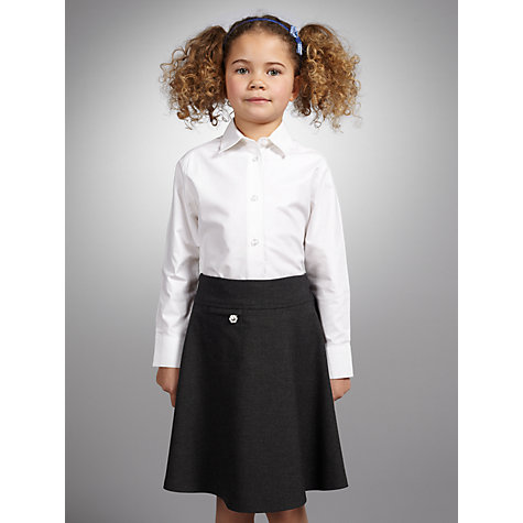 Buy John Lewis Girls' Long Sleeved Fitted School Blouse, White Online at johnlewis.com