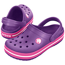 Buy Crocs Kids Crocband Clogs, Pink/Purple Online at johnlewis.com