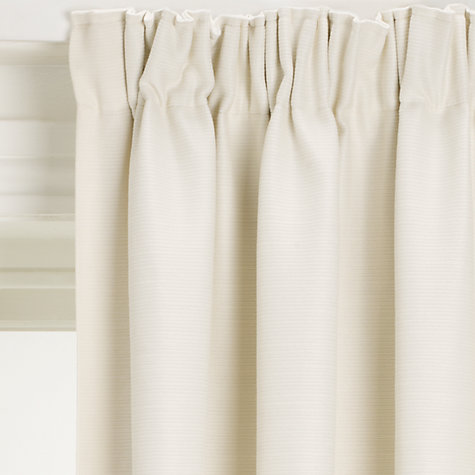 Buy John Lewis Polycotton Rib Blackout Lined Pencil Pleat Curtains, Oyster Online at johnlewis.com