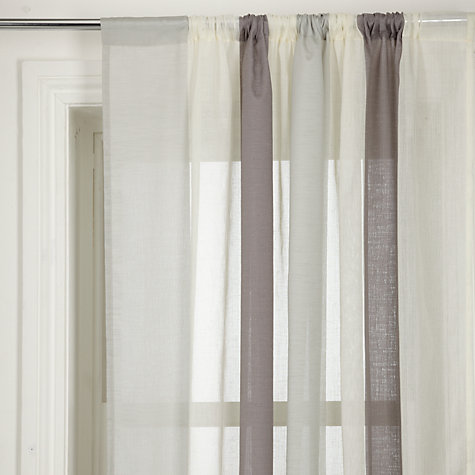 Buy John Lewis Metallic Broad Stripe Slot Top Voile Panel, Grey Online at johnlewis.com