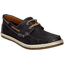 Buy Dune Bunting Leather Boat Shoes, Navy Online at johnlewis.com