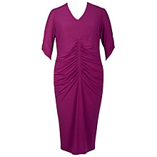 Buy Chesca Ruched V-Neck Dress, Raspberry Online at johnlewis.com