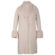 Buy Chesca Collar and Cuffs Long Cardigan, Putty Online at johnlewis.com