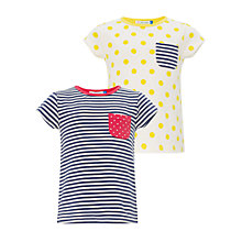 Buy John Lewis Girl Stripe/Spot T-Shirts, Pack of 2, Blue/Yellow Online at johnlewis.com