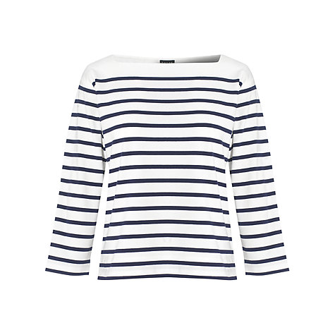 Buy Jaeger Breton Striped Top, Navy Online at johnlewis.com