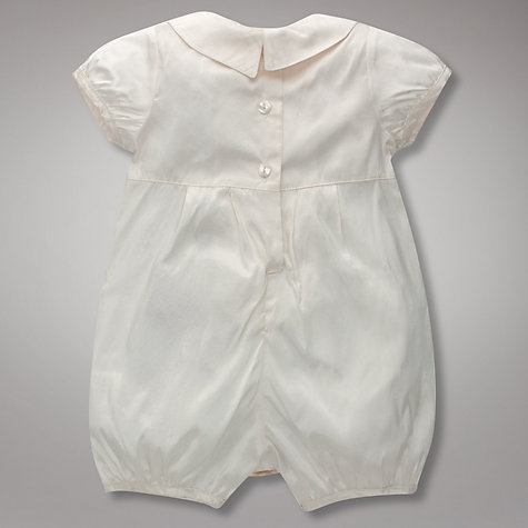 Buy John Lewis Baby Button Detail Romper, Cream Online at johnlewis.com