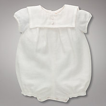 Buy John Lewis Baby Linen Romper Suit, Cream Online at johnlewis.com