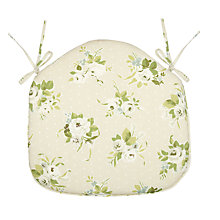 Buy John Lewis Rose Seat Pad, Green / Linen Online at johnlewis.com