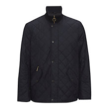 Buy Barbour Chelsea Ribbed Neck Quilted Jacket, Black Online at johnlewis.com