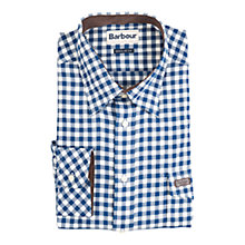 Buy Barbour Rockland Check Long Sleeve Shirt, Blue/White Online at johnlewis.com