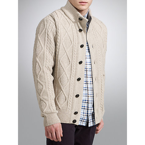 Buy Barbour Kirkham Cable Knit Funnel Neck Cardigan, Ecru Online at johnlewis.com