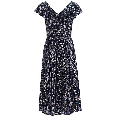 Buy Jaeger Polka Dot and Frill Dress, Navy Online at johnlewis.com