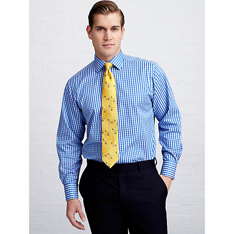 Buy Thomas Pink Coral Check Single Cuff Shirt, Blue Online at johnlewis.com