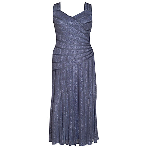 Buy Chesca Lace Stripy Trim Dress, Charcoal Online at johnlewis.com