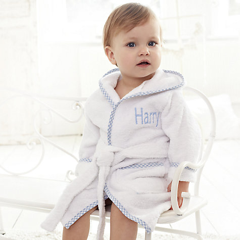 Buy My 1st Years Personalised Hooded Baby Robe, Blue Online at johnlewis.com