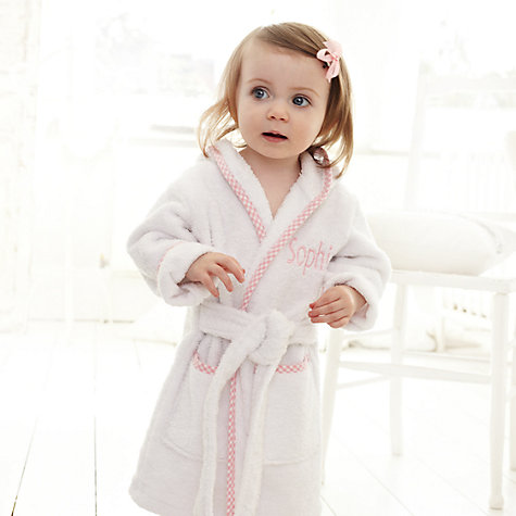 Buy My 1st Years Personalised Hooded Robe, Pink Online at johnlewis.com