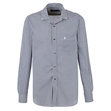 Buy French Connection Multi Check Long Sleeve Shirt, Navy/White Online at johnlewis.com