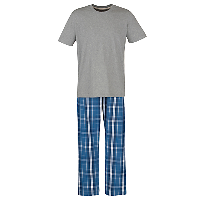 John Lewis Short Sleeve T-Shirt and Lounge Pants, Grey/Blue