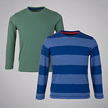 Buy John Lewis Boy Solid and Striped T-shirts, Pack of 2, Blue/Green Online at johnlewis.com