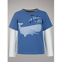 Buy John Lewis Boy Whale Mock-Sleeve T-shirt, Blue Online at johnlewis.com