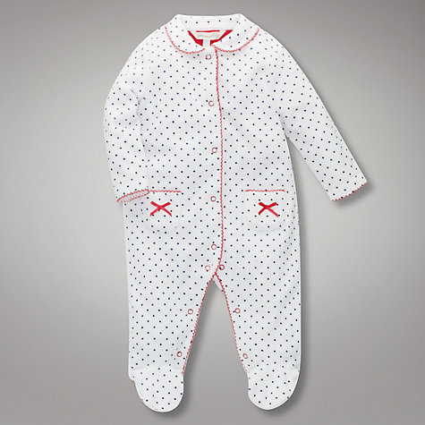 Buy John Lewis Baby Spot Velour Sleepsuit, White/Navy Online at johnlewis.com