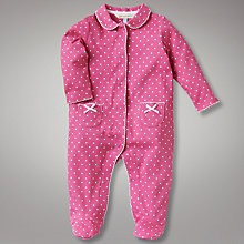 Buy John Lewis Baby Spot Sleepsuit, Pink Online at johnlewis.com
