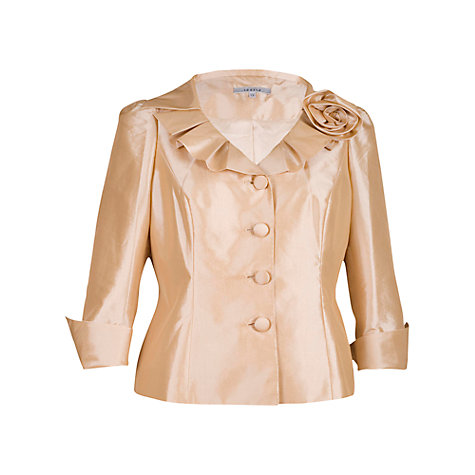 Buy Chesca Pleated Collar Taffeta Jacket, Gold Online at johnlewis.com