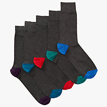 Buy John Lewis Fashion Heel and Toe Socks, Pack of 5, Multi Online at johnlewis.com