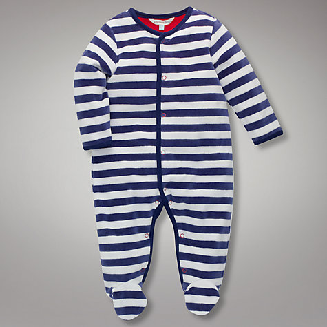 Buy John Lewis Baby Striped Sleepsuit, Navy Online at johnlewis.com