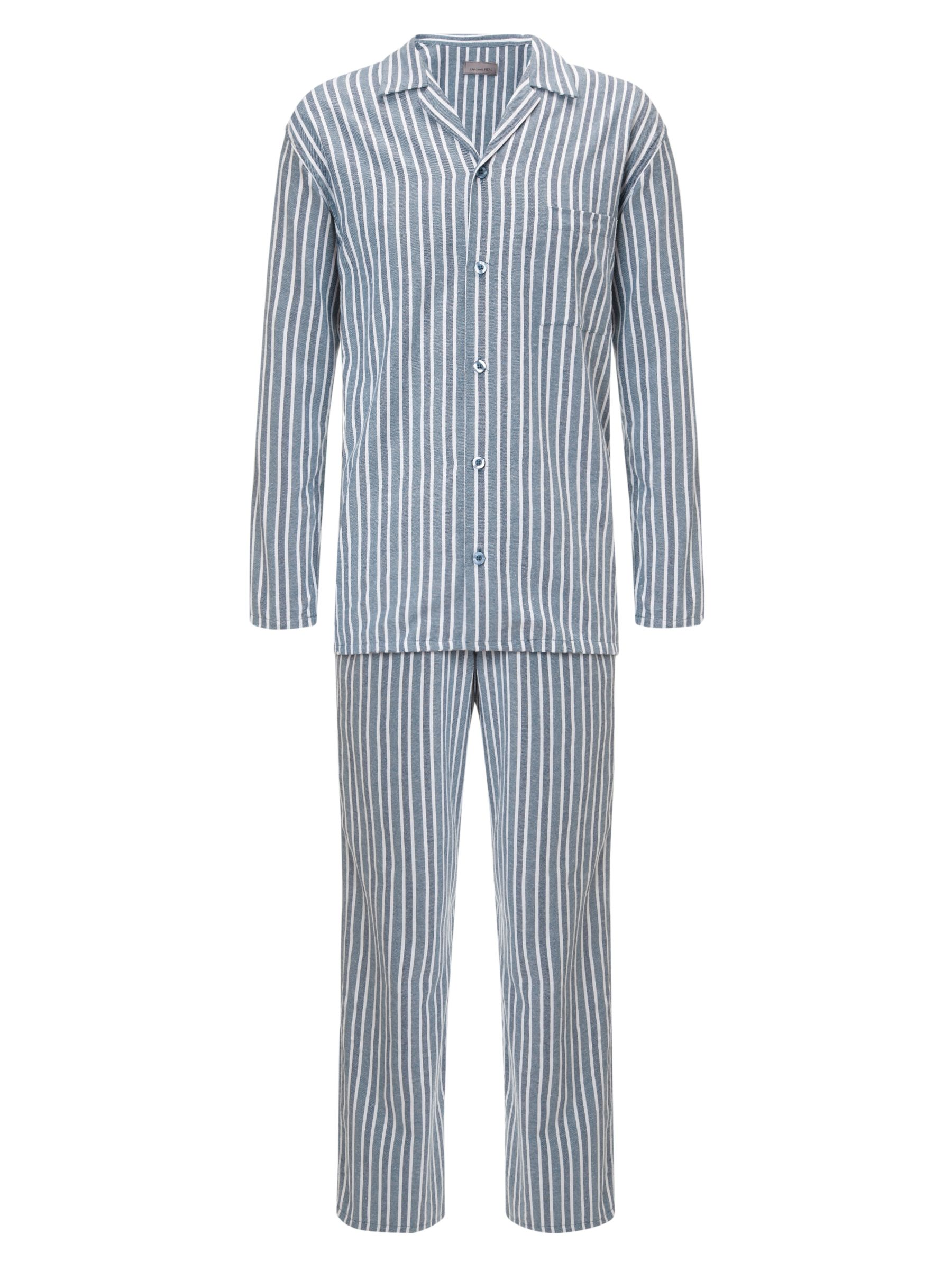 John Lewis Brushed Cotton Stripe Pyjamas, Grey