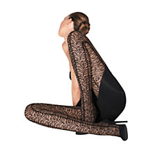 Buy Wolford Lulu Tiger Stripe Tights, Black Online at johnlewis.com