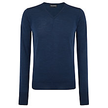Buy John Smedley Bobby Merino V-Neck Jumper, Indigo Online at johnlewis.com