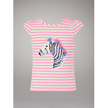 Buy John Lewis Girl Striped Zebra T-Shirt, Pink Online at johnlewis.com